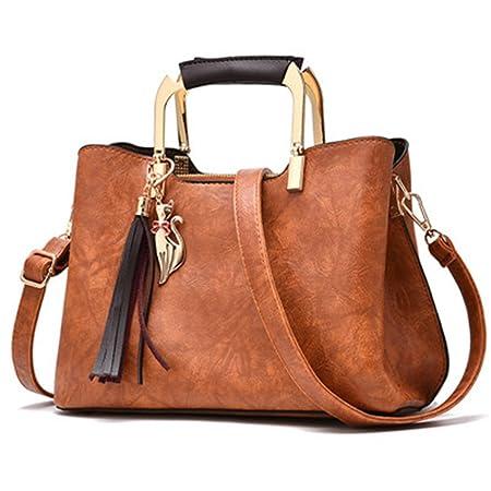 d068146258f9 Amazon.com  Women Vintage Leather Handbags Shoulder Bag Women Tassel Tote Bag  Female Leather Ladies Hand Bag Crossbody Bags Black 27x13x20cm  Sports   ...
