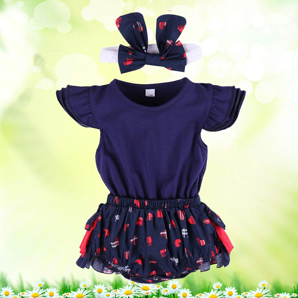 70cm Cute Newborn Baby Girl Clothes Romper Love Heart Tutu Dress Lace Headband Outfits