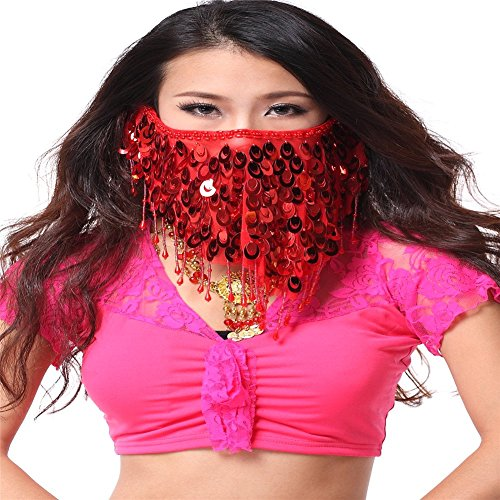 Peacock Bra Costume (Belly Dance Accessories Dancing Peacock Sequins Face Veil Costume Color: red)