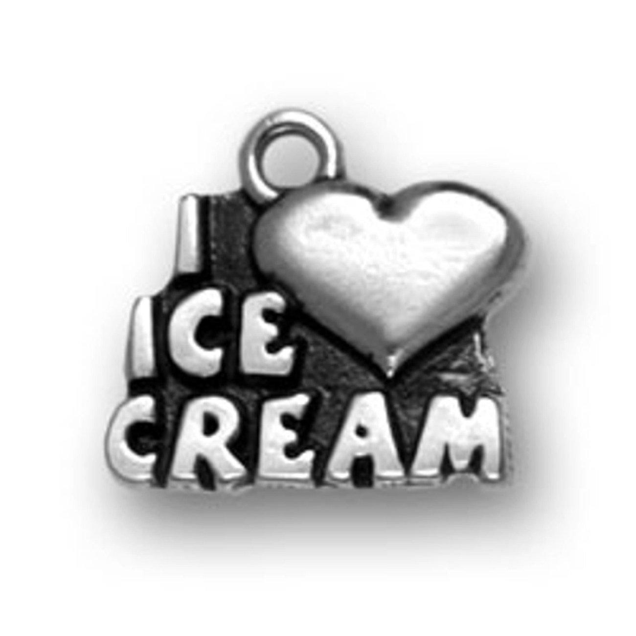Sterling Silver 30'' Men's 1.5mm Box Chain I LOVE ICE CREAM Word Pendant Necklace