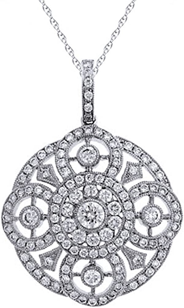 Silvercartvila Modern D//VVS1 Clear Diamond Fashion Pendant With 18 Chain In 14K White Gold Plated Silver