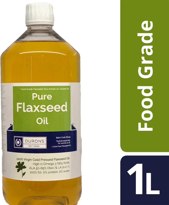 OURONS Aceite de Semillas de linaza de Grado alimenticio para Perros, 1 litro de Aceite Virgen Premium prensado en Frio