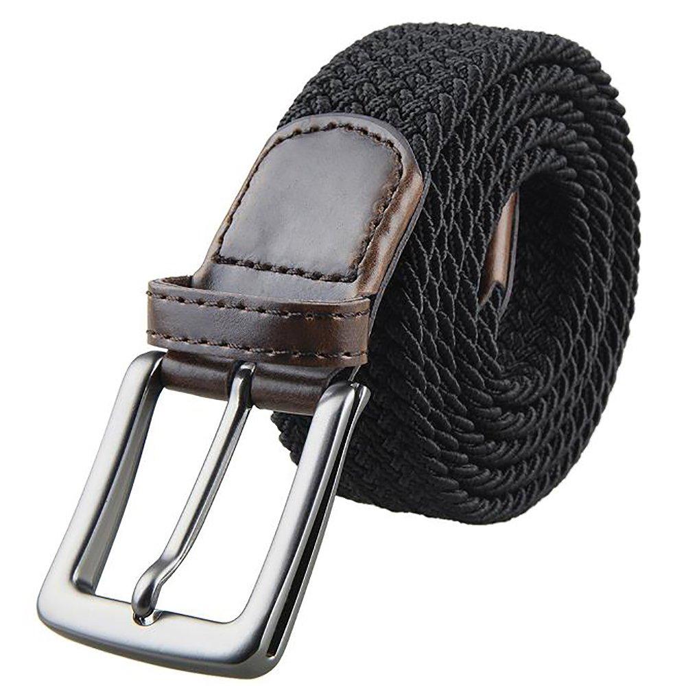 Julongcul Canvas Elastic Fabric Woven Stretch Multicolored Braided Belts Black