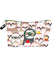 Makeup Bag Travel Cosmetic Bag with Cartoon Sloth Pattern Cosmetic Case Organizer for Women Girls