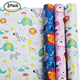 Arts & Crafts : Wrapping Paper - Baby Shower Wrapping Paper - Gift Wrapping Paper Kids – Baby Wrapping Paper - Premium Wrapping Paper – 3 Rolls - 2.5 ft x 10 ft per Roll, Includes 3 Bows, 2 Ribbons