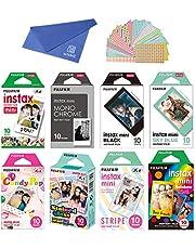 Fujifilm Instax Mini Instant Film 8-Set, Monochrome + Black + Sky Blue + Single + Candy Pop + Stained Glass + Stripe + Rainbow + Cloth + Sticker for Mini 90 8 70 7s 50s 25 300 Camera SP-1 Printer