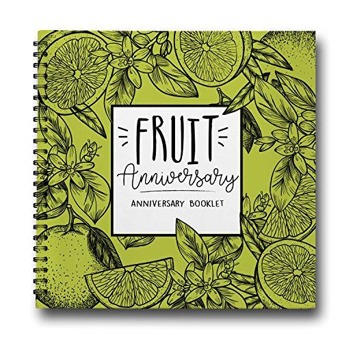 4th Year Anniversary Gift For Him, Fruit 2014 - 2018 Vintage Flowers Wedding Present for Couples. Four Years Together Engraved Fruits Keepsake Journal and Photo Album Gift for Husband or Wife by Pillo
