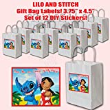 """Lilo and Stitch Party Favors Supplies Decorations Gift Bag Label STICKERS ONLY 3.75"""" x 4.75"""" -12 pcs"""