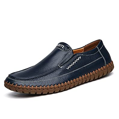 9a51003a4 Handmade Summer Men s Leather Shoes Casual Slip On Driving Loafers  Stitching Shoes Blue 39