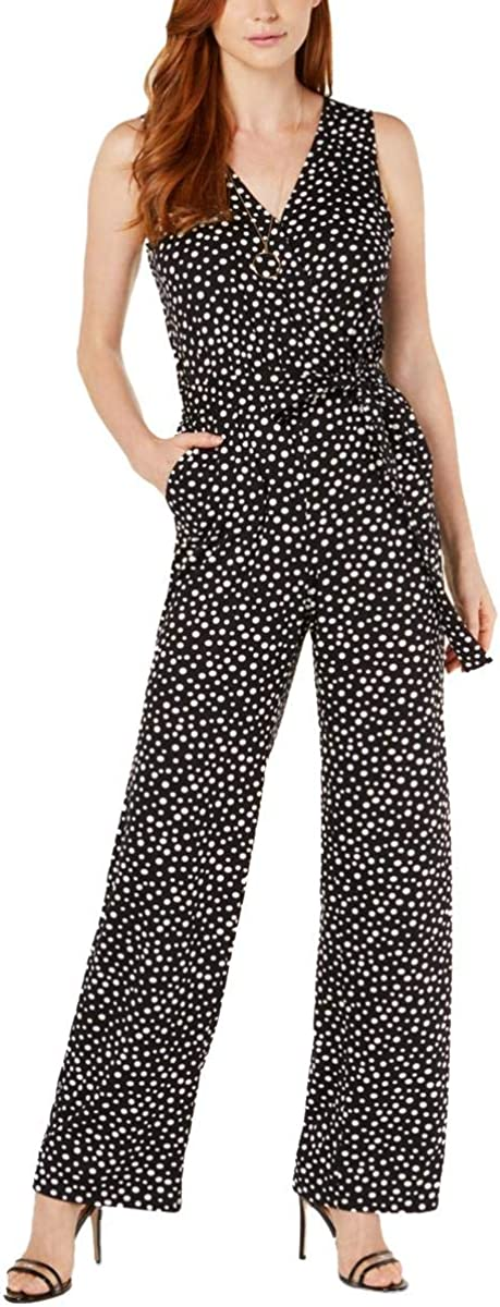 NY Collection Womens Petites Sleeveless Printed Jumpsuit