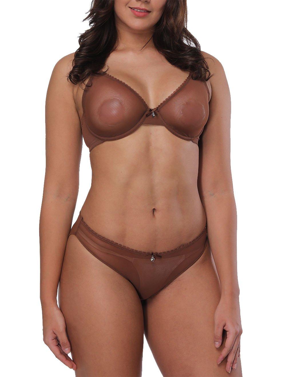 79b35e03d9 YANDW Women s Sexy Sheer Bra See-Through Mesh Lingerie Lace Bralette  Transparent Everyday Bra