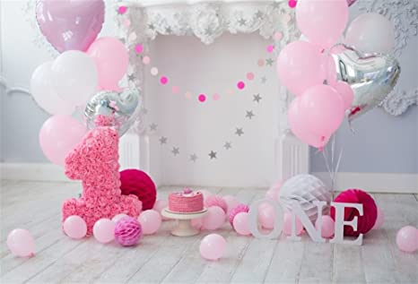 Leowefowa Vinyl 5X3FT Girls 1st Birthday Backdrop Cake Smash Backdrops for Photography Dessert Table Wallpaper Vinyl Photo Background Girls Room ...