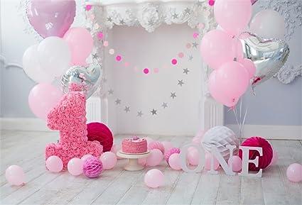 YongFoto 2,2x1,5m Vinilo Telon de Fondo Cumpleaños 1 año Hermosas Decoraciones Fondos Fotograficos Photo Booth Infantil Party Banner Niña Niño Photo ...