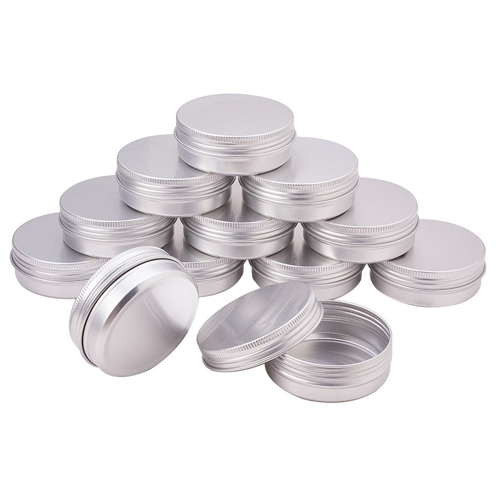 Pandahall Elite 2oz 30 Pack Silver Aluminum Round Tins Empty Slip Slide Round Containers Bottle with Screw Lid for Lip Balm,Crafts,Cosmetic,Candles,Travel Storage