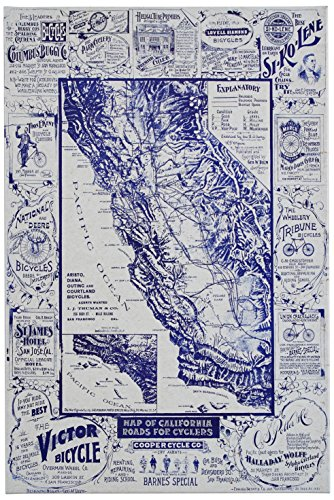 Blue 1896 Map of California Roads for Cyclers Canvas Print