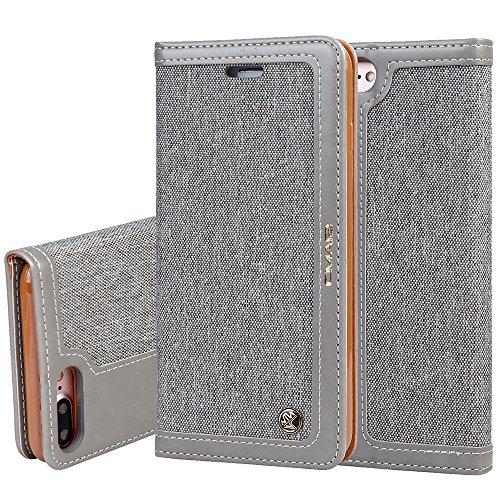 """Apple iPhone 6Plus /6s Plus 5,5"""" Leder Hülle Flip Case Handytasche und Brieftasche mit Standfunktion Kredit Karten Fach mit Unsichtbarem Magnet,Grau"""