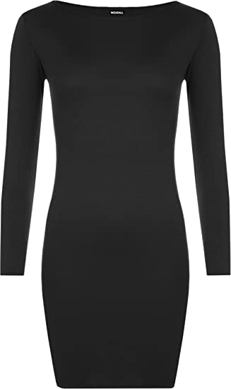 WearAll Women\'s Plus Size Bodycon Stretch Long Sleeve Ladies Plain Dress