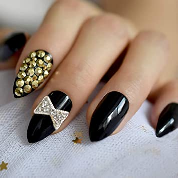 EchiQ - Lazo de plata para uñas postizas con diamantes de ...