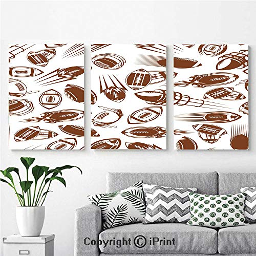 - Modern Salon Theme Mural Retro Comicbook Style Flying Spinning Balls with Motion Trails Sports Competition Decorative Painting Canvas Wall Art for Home Decor 24x36inches 3pcs/Set, Brown White