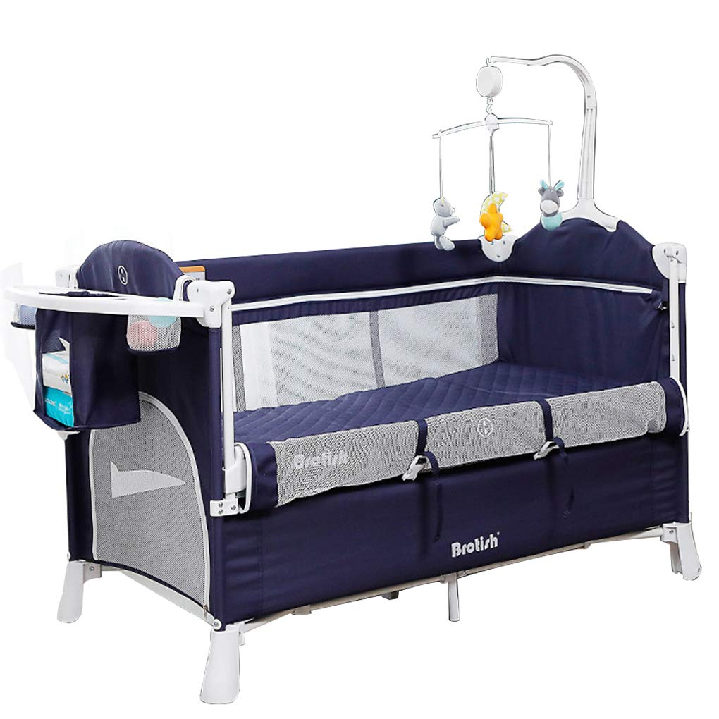 Brotish Baby playards Travel Crib Bedside Cribs Baby cot Lightweight Easy to Pack Play-Yard with Comfortable Mattress Removable Wheels Diaper Changing Table Carry Bag Musical Toys (0-36 Months) Blue