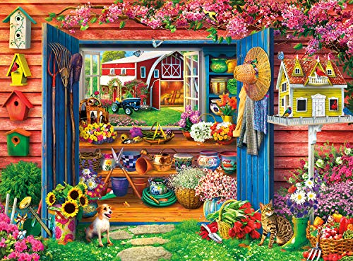 House Puzzle 1000 Piece (Buffalo Games - Country Life - Farm Flower Shed - 1000 Piece Jigsaw Puzzle)