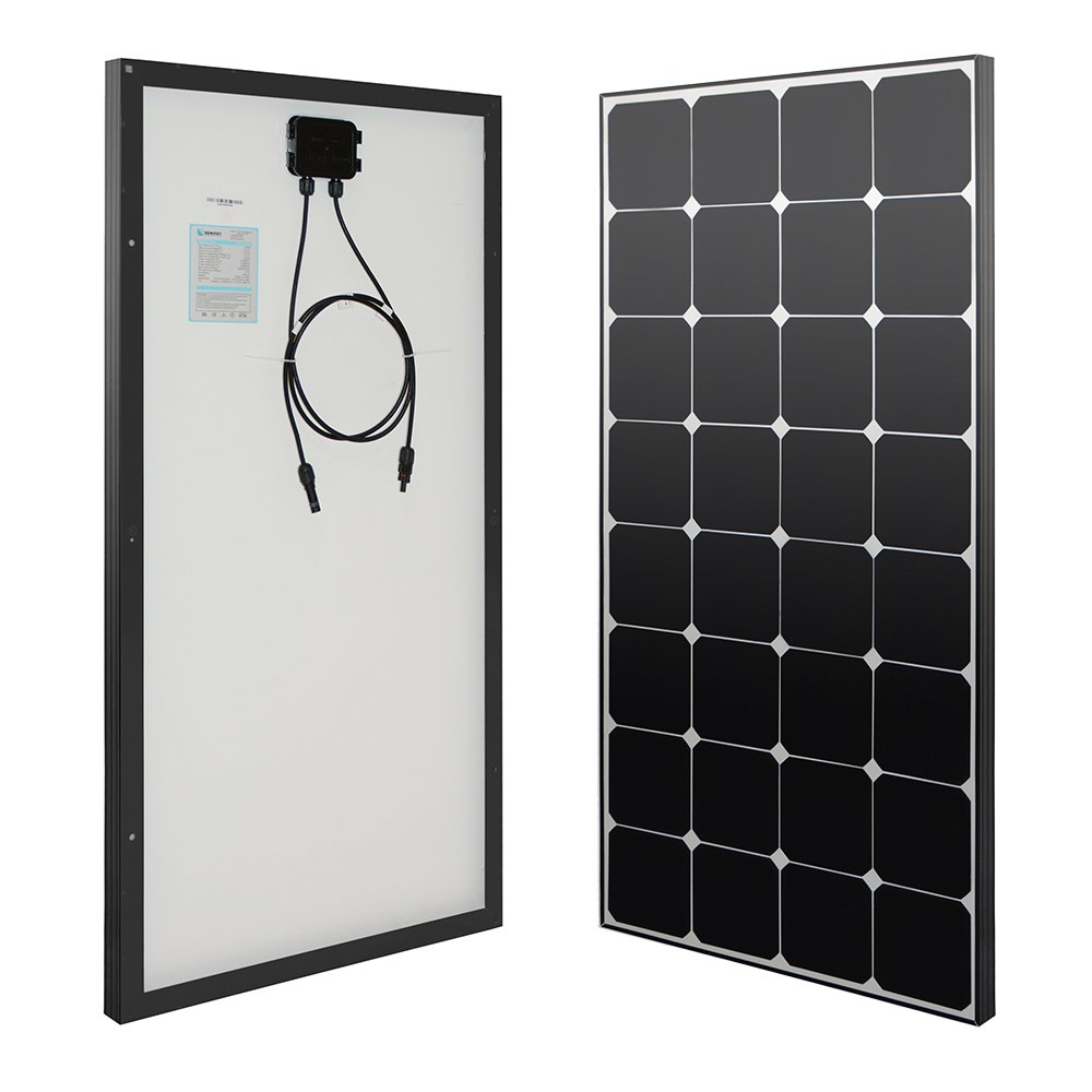 Renogy 100 Watt 12 Volt Eclipse Monocrystalline Solar Panel High Efficiency Module Off Grid PV Power for Battery Charging, Boat, Caravan, RV and Any Other Off Grid Applications by Renogy