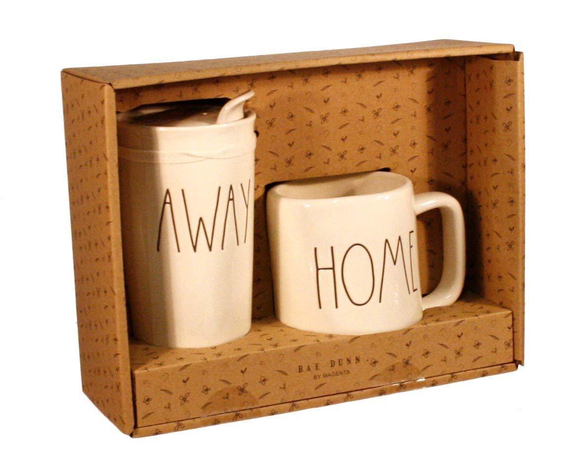 Rae Dunn HOME and AWAY Travel Tumbler With Lid Coffee Mug Cup Gift Set