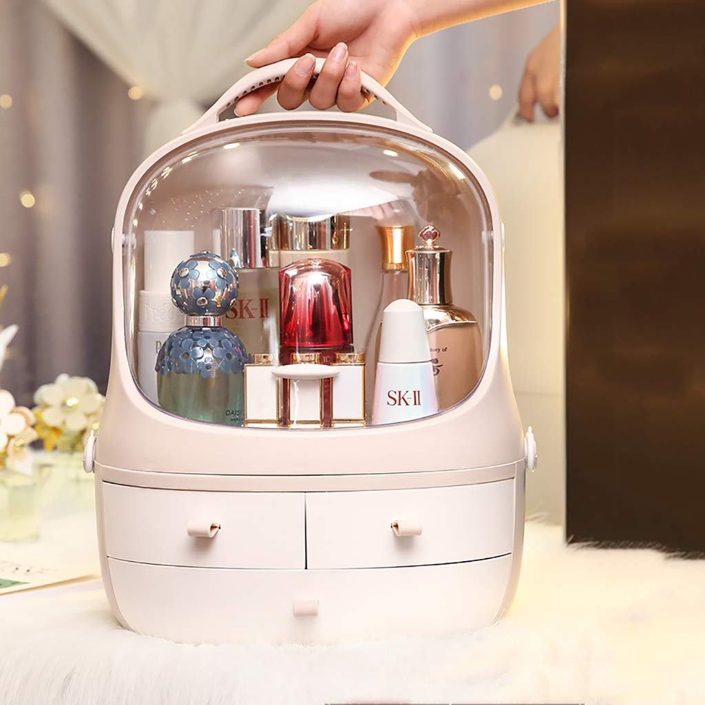 Portable Makeup Organizer with Handle, Dust Cover, 3 Drawers/Jewelry and Cosmetic Storage Boxes (Color : Pink, Size : 30cm × 20cm × 38.5cm)