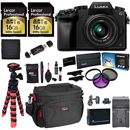 Panasonic LUMIX DMC-G7KK DSLM 4K Camera (Black), 14-42 mm Lens Kit, 16GB 2 Pack, Ritz Gear Tripod, Camera Bag, Cleaning Kit, Card Reader, Filter Kit, Battery, Charger and Accessory Bundle by Ritz Camera