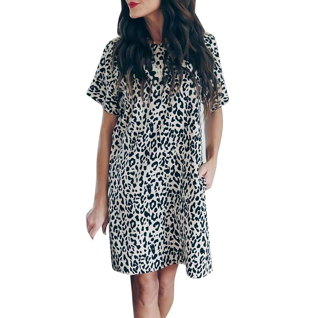 Women's Short Sleeve Dress | Hopwin Ladies Summer Leopard Printed Casual O Neck Sundress with Pocket (XXL, Black)
