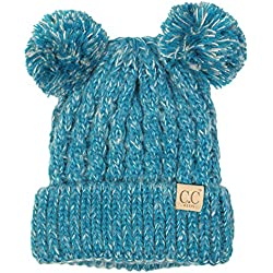 H-6023-46 Children's Double Pom Knit Beanie - Teal