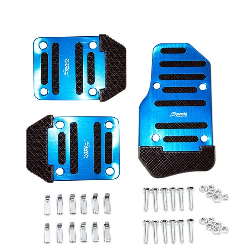 Pedale fü r Autos, 3-teilig, rutschfest, fü r universelles Schaltgetriebe, Fahrzeuge, blau, 3 Helaryfreemear
