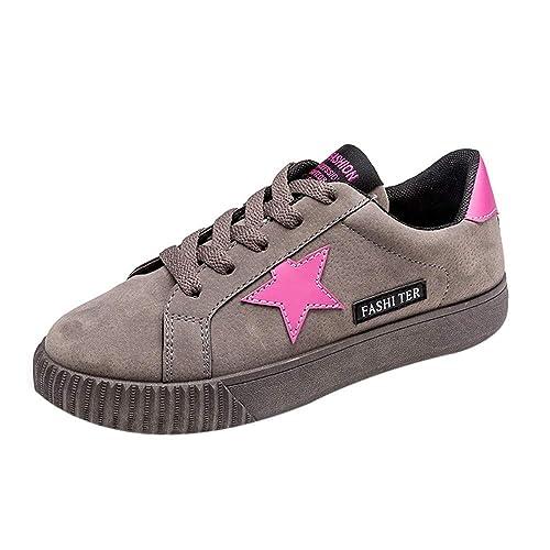 Zapatillas Deportivas Moda Mujer Running,Mujer con Cordones, con Forma De Estrella, Deporte, Zapatillas De Deporte para Correr, Zapatos Planos Planos: ...