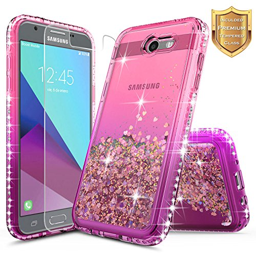 Mission Diamond (Samsung Galaxy J3 2017 Case, Galaxy Luna Pro Case, Galaxy J3 Mission Case with [Tempered Glass Screen Protector], NageBee Quicksand Liquid Floating Glitter Flowing Bling Diamond Case -Pink/Purple)