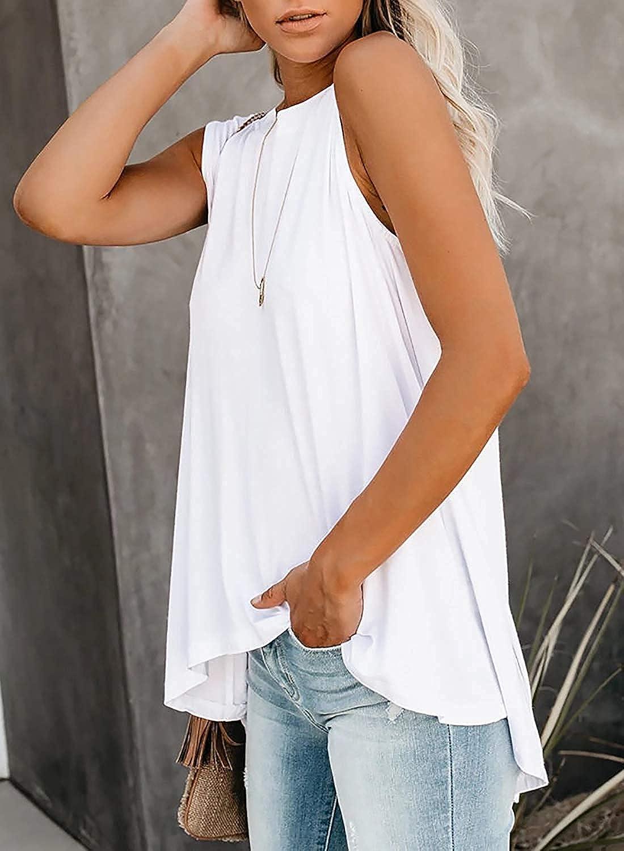 Jiuhexuj Womens Crewneck Tank Tops High Low Asymmetrical Irregular Hem Casual Sleeveless Shirt