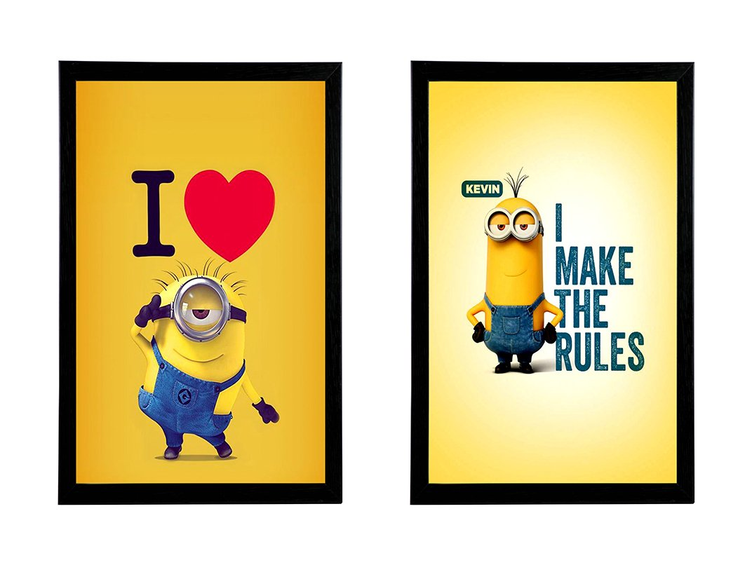 Cute Minion Poster\'s With Wooden Frame| Minions Poster | Package Of ...