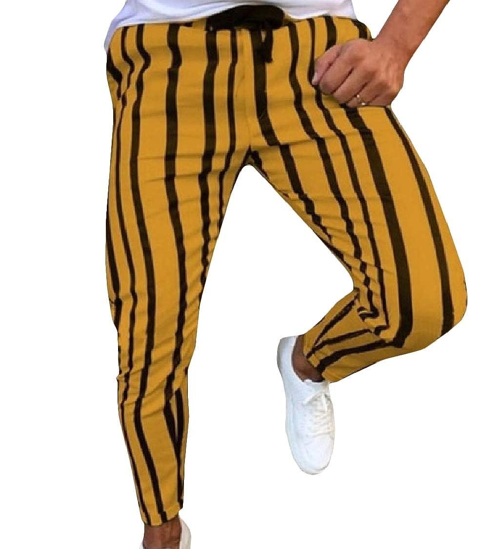 Fieer Mens Drawstring Mid Waist Stripe Fashionable Slim Jogging Pants