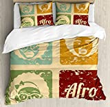 Afro Queen Size Duvet Cover Set by Lunarable, Pop Art Style Disco Themed Arrangement Retro Dance Fever African American Culture, Decorative 3 Piece Bedding Set with 2 Pillow Shams, Multicolor