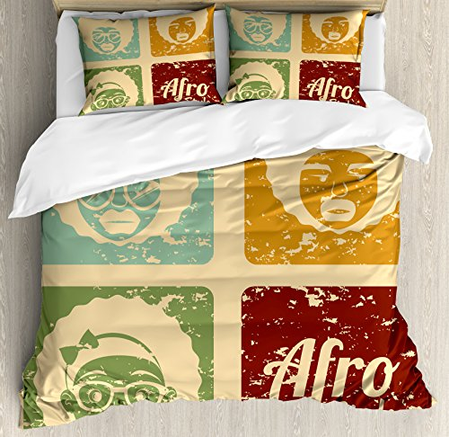 Lunarable Afro Duvet Cover Set, Pop Art Style Disco Themed Arrangement Retro Dance Fever American Culture, Decorative 3 Piece Bedding Set with 2 Pillow Shams, Queen Size, Yellow Blue (Difference Between African And African American Culture)