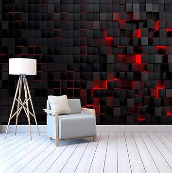 Wxmztt Custom Modern Technology Wallpapers For Living Room Wall Paper 3d Red Light Shining Black Cubes Wall Mural Wallpaper Home Decor 200x140cm Amazon Com