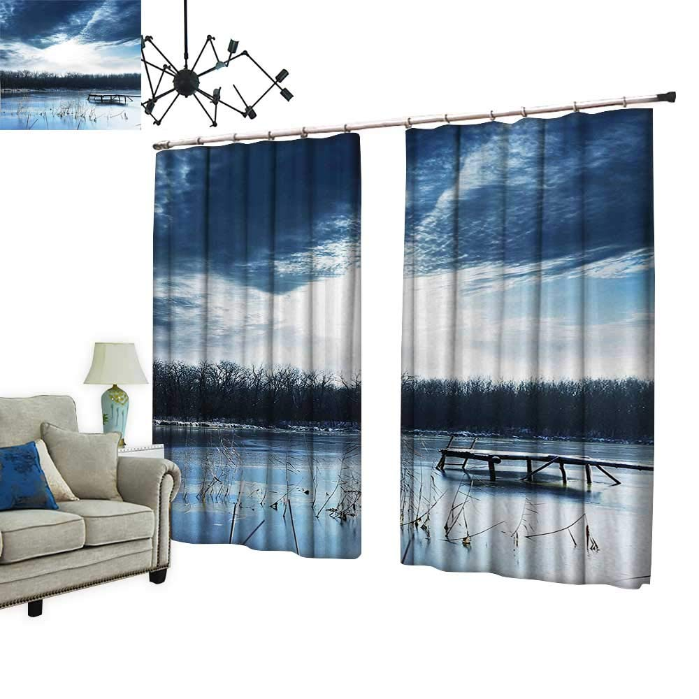 PRUNUS Window Curtains with Hook Scenery of Mountain Lake with a Frozen Bay Sunset Slate Blue White and Improve Living Environment,W72 xL84.3