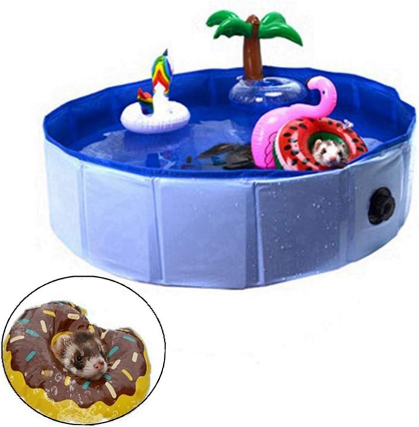 HAICHEN TEC Foldable Collapsible Ferret Bathing & Cooling Swimming Pool, Durable Bath Tub, Swimming Bath Water Washer for Ferrets & Small Animals, Bonus-Ferret Swim Ring