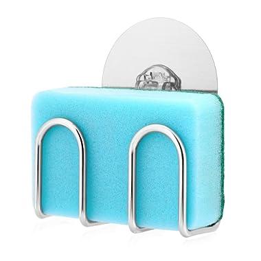 Sponge Holder for Kitchen Sink Bogeer Adhesive Sink Sponge Holder, Quick Drying, Reusable Adhesive, 304 Stainless Steel