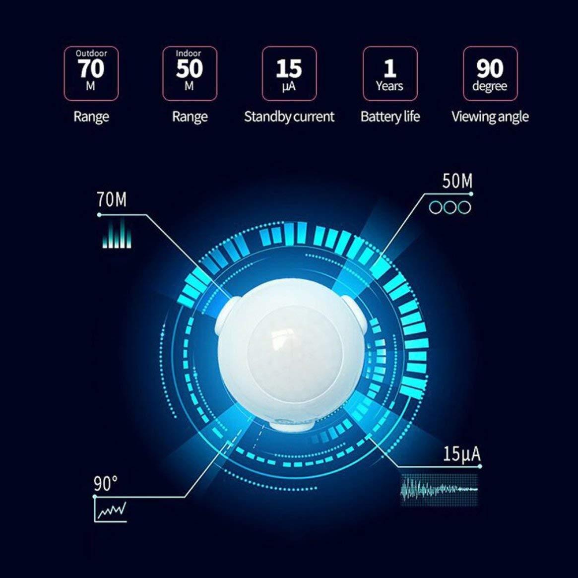 NAS-PD01Z Z-WAVE Plus Sensor de movimiento PIR Detector inteligente Sistema de alarma de sensibilidad de automatización del hogar Notificación inalámbrica: ...