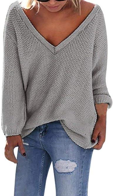 Camisa Mujer Suéter Holgado Cuello V Manga Larga Casual Suelto Blusa Rojo y Top Azul Jersey Stripe Shirt Otoño Verano Playa y Fiesta Tallas Grandes riou: Amazon.es: Ropa y accesorios