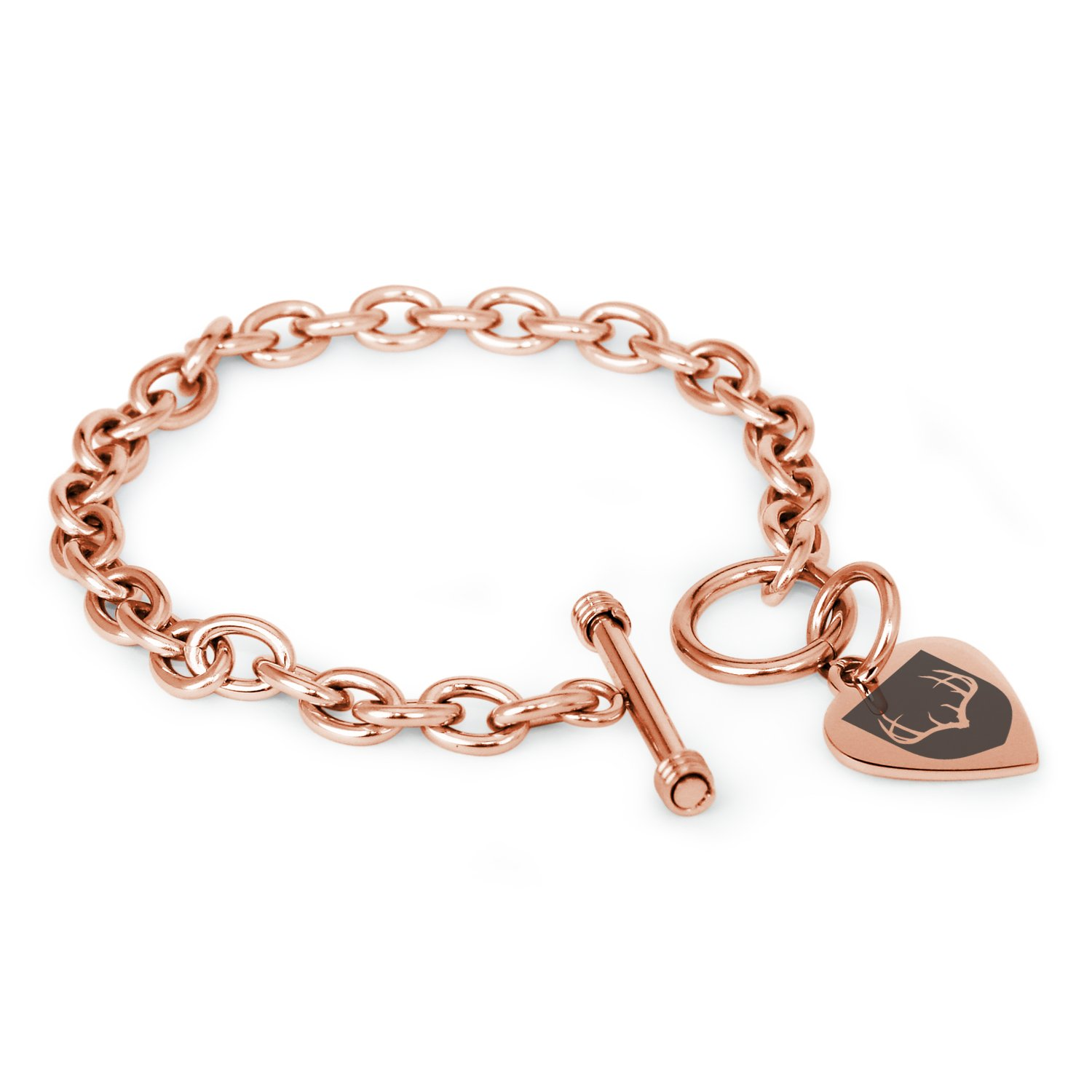 Tioneer Rose Gold Plated Stainless Steel Antlers Fortitude Coat of Arms Shield Symbols Heart Charm, Bracelet Only