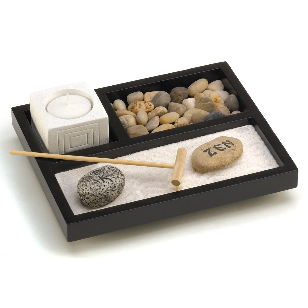 Amazon.com: Gifts & Decor Tabletop Zen Sand Rocks Candle Holder Rake Garden  Kit: Home & Kitchen