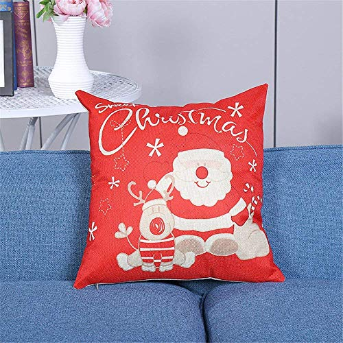 Rocking Giraffe Cute Christmas Santa Claus and Deer Throw Pillow Covers Decorative Square Cushion Cover Supersoft Satin Fabric Pillowcase for Home Couch Sofa Bed 18 x 18 Inch 45 x 45 cm
