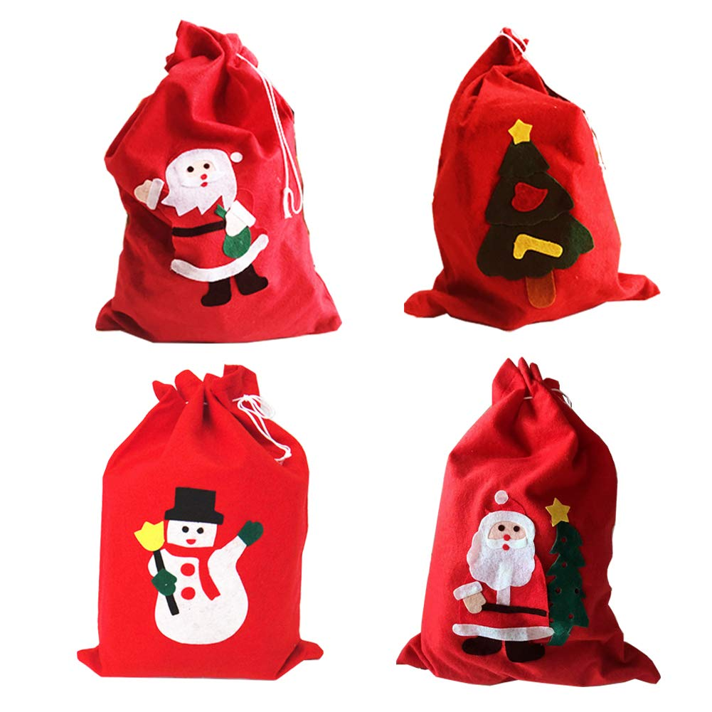 Transfertex Handmade Christmas Red Santa Sack Gift Bags for Candy Storage Wrap With Drawstring Medium Set of 4
