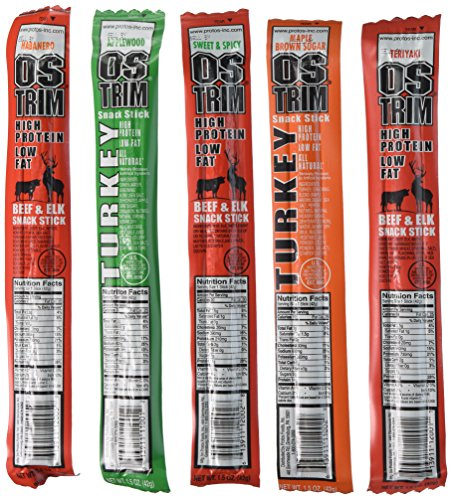 OSTRIM HIGH PROTEIN Snack Stick Sampler Set - Turkey, Elk & Beef Jerky Sampler 10 pack